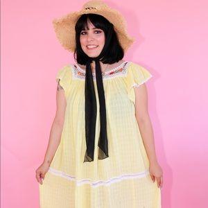 Vtg 70s Crochet Detail Tent Dress S M L